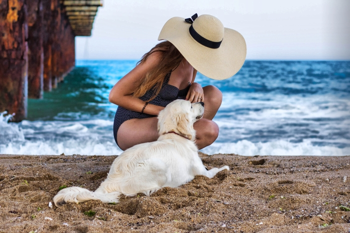 Summer photoshoot at the beach, polka dots retro swimsuit, sunhat, golden retriever puppy