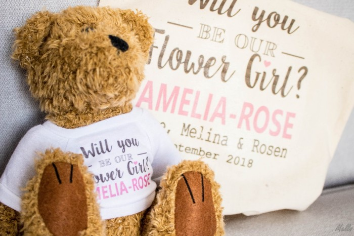 It is a Mells World flower girl invitation amelia-rose teddy bear