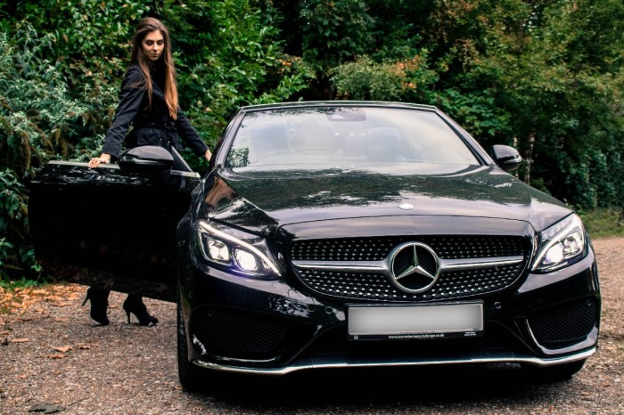 mercedes c220d amg line convertible cabriolet girl