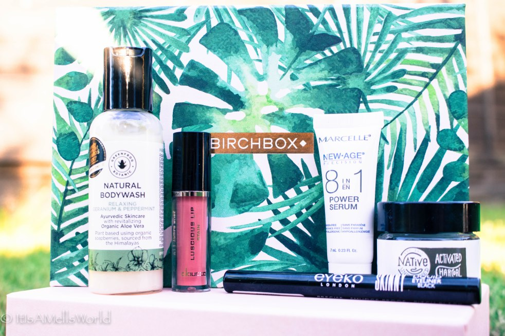 birchbox may 2018review greenfrog botanic natural bodywash geranium doucce luscious lip amber rose marcelle 8in1 power serum native unearthed activated charcoal eyeko skinny liquid eyeliner