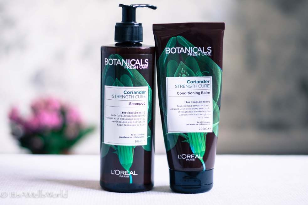 hair care routine botanicals loreal paris strength cure coriander shampoo conditioner