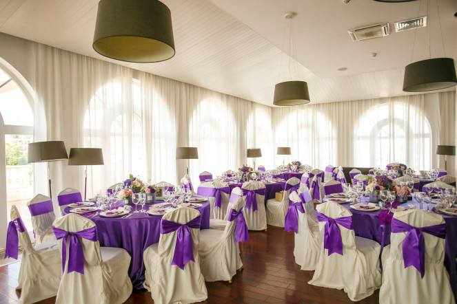 wedding decoration ultraviolet purple flower boxes fairy tale lighthouse golf and spa resort tables