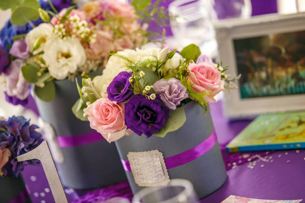 wedding decoration ultraviolet purple flower boxes fairy tale lands