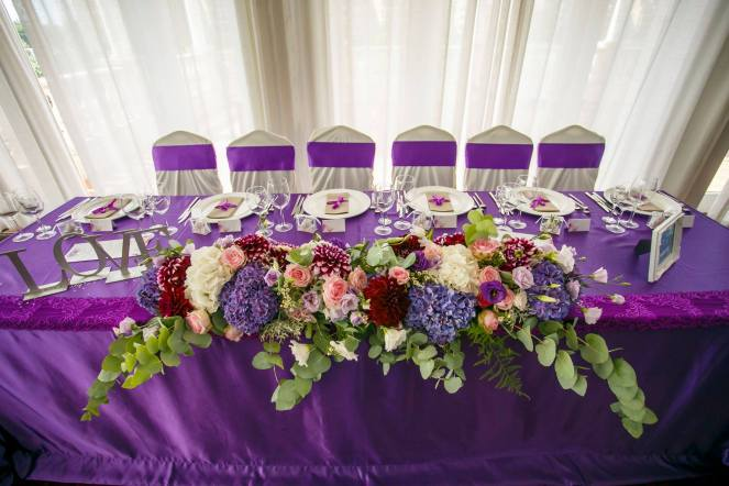 wedding decoration ultraviolet purple flower boxes fairy tale lands main table