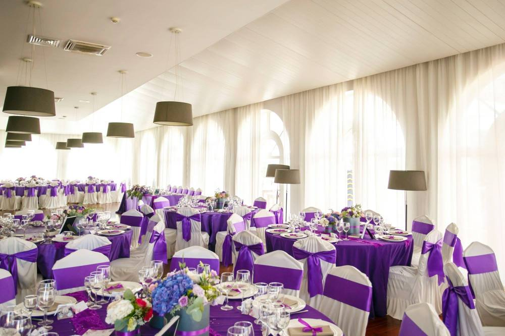 wedding decoration ultraviolet purple flower boxes fairy tale lighthouse golf and spa resort